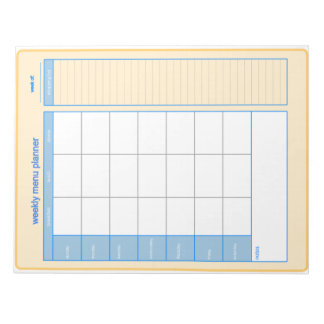 Weekly Menu Planner Notepad