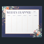 "Weekly Planner Botanical Notepad<br><div class=""desc"">This notepad weekly planner features a colorful floral botanical graphics on a deep blue background. Divided into six columns for the workweek and weekend,  this planner will help you stay organized.</div>"