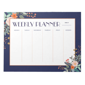 Weekly Planner Botanical Notepad