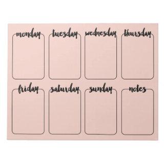 Weekly Planner Custom Color Note pad Calendar