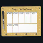"Weekly Planner Dry Erase Board<br><div class=""desc"">Gold and white polka dot dry erase board with a bold,  modern,  retro,  vintage flair!</div>"