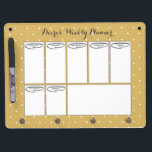 """Weekly Planner Dry Erase Board<br><div class=""""desc"""">Gold and white polka dot dry erase board with a bold,  modern,  retro,  vintage flair!</div>"""