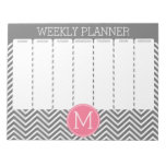 Weekly Planner Gray & Pink Chevrons with Monogram Memo Pads
