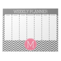 Weekly Planner Gray & Pink Chevrons with Monogram Notepad