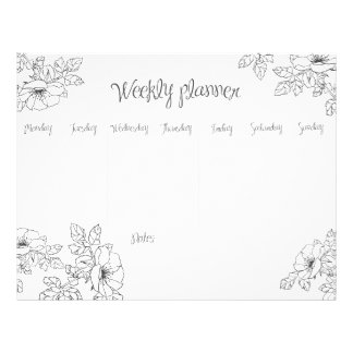 Weekly Planner monochrome hand sketch floral line Letterhead
