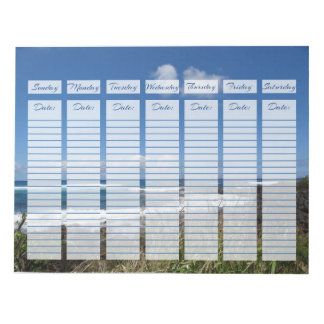 Weekly Planner Ocean Waves Photograph Beach Grass Note Pad
