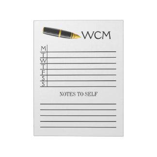 Weekly Planner Pad / Binder Notebook Insert