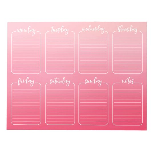 Weekly Planner Pink Watercolor Tear Away Calendar Notepad | Zazzle