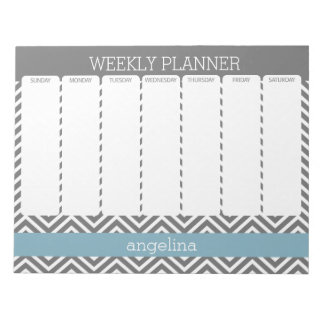 Weekly Planner Robin Egg Blue and Gray Chevrons Note Pad