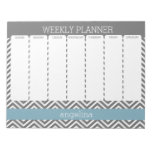 Weekly Planner Robin Egg Blue and Gray Chevrons Memo Pads