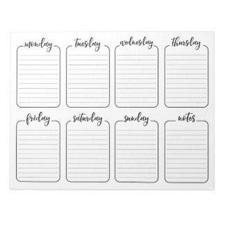 Weekly Planner Simple White Tear Away Calendar Notepad