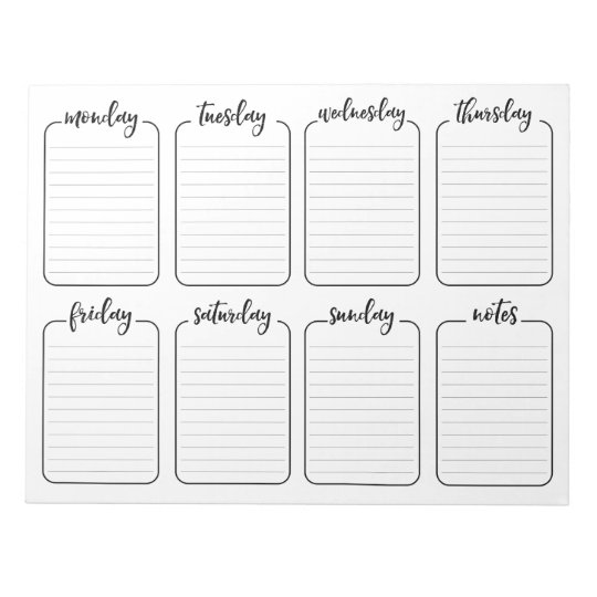 weekly planner simple white tear away calendar notepad | zazzle