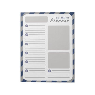 Weekly Project planner - Blue and Gray Notepad