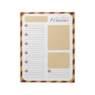 Weekly Project planner - Red and Gold Notepad