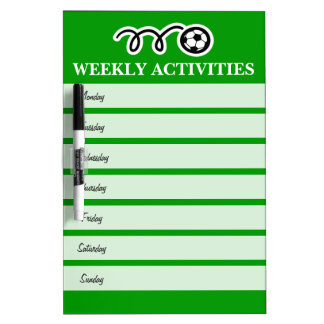 Weekly sports activity calendar dry erase board