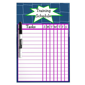 Weekly sports training schedule Dry-Erase whiteboards