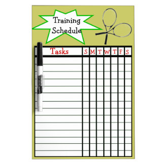 Weekly tennis training schedule dry erase white board