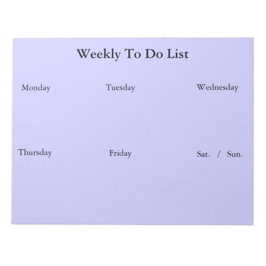 Weekly To Do List Notepad