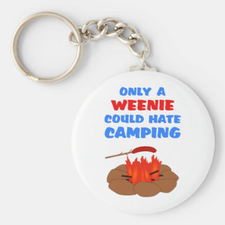 Weenies Hate Camping Basic Round Button Keychain