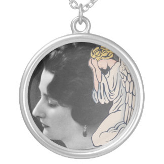 Weeping angel add photo of departed loved one round pendant necklace