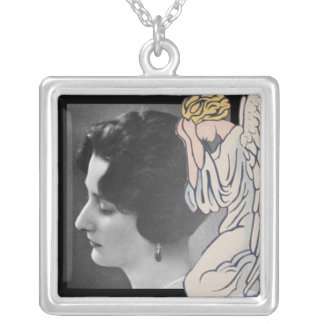 Weeping angel add photo of departed loved one square pendant necklace