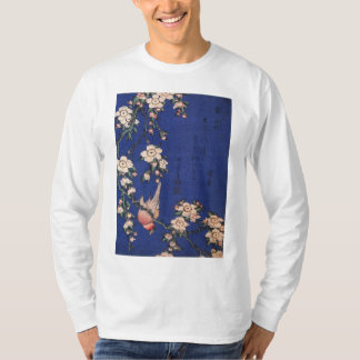 Weeping Cherry and Bullfinch, Hokusai T-Shirt