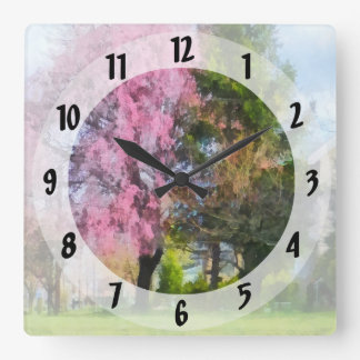 Weeping Cherry and Evergreen Square Wall Clock
