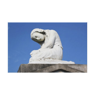 Weeping Child Statue Stretched Canvas Print