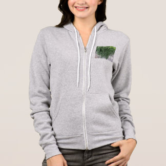 Weeping trailing rosemary plant cascading down hoodie