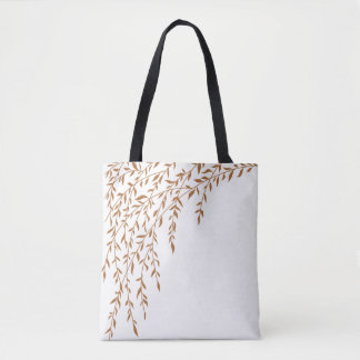 Weeping Willow Autumn Brown Tan Leaves Branch Tote Bag