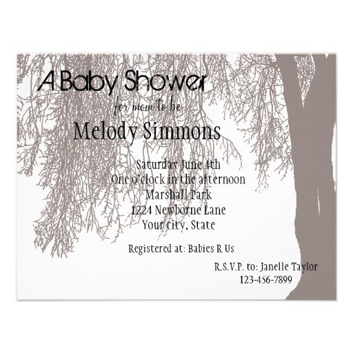 Weeping Willow Baby Shower Custom Announcements