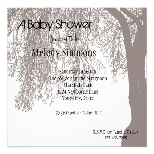 Weeping Willow Baby Shower Invite