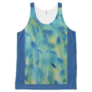 Weeping willow branches abstract watercolor All-Over print tank top