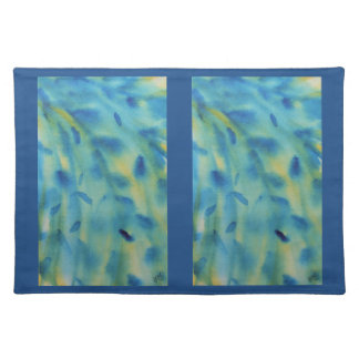 Weeping willow branches abstract watercolor cloth placemat