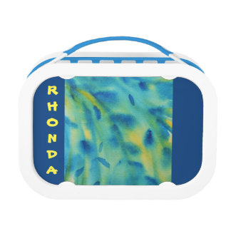 Weeping willow branches abstract watercolor lunch box