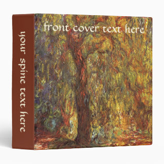 Weeping Willow by Claude Monet, Vintage Fine Art 3 Ring Binder