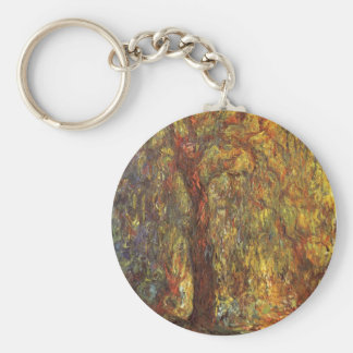 Weeping Willow by Claude Monet, Vintage Fine Art Keychain