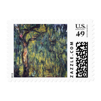 Weeping Willow by Claude Monet, Vintage Fine Art Stamp
