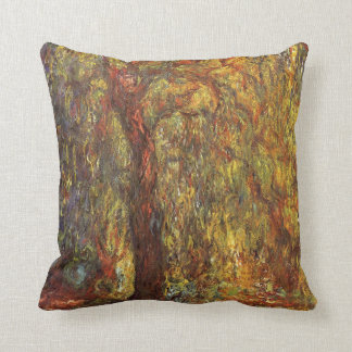 Weeping Willow by Claude Monet, Vintage Fine Art Throw Pillow