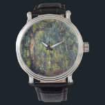 "Weeping Willow by Claude Monet, Vintage Fine Art Watch<br><div class=""desc"">Weeping Willow II (1918) by Claude Monet is a vintage impressionist fine art nature painting. It is part of a series of willow tree paintings that Monet painted in his gardens in Giverny, France. A grove of trees in a forest during the autumn season. About the artist: Claude Monet (1840-1926)...</div>"
