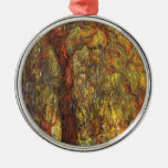 Weeping Willow, Claude Monet Vintage Impressionism Round Metal Christmas Ornament