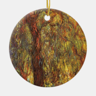 Weeping Willow, Claude Monet Vintage Impressionism Double-Sided Ceramic Round Christmas Ornament