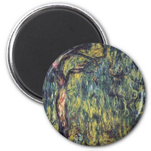 Weeping Willow II by Monet, Vintage Impressionism Fridge Magnet