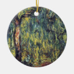 Weeping Willow II by Monet, Vintage Impressionism Double-Sided Ceramic Round Christmas Ornament