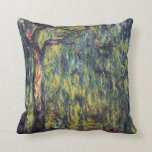 Weeping Willow II by Monet, Vintage Impressionism Throw Pillow