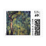 Weeping Willow II by Monet, Vintage Impressionism Stamp