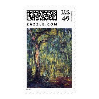 Weeping Willow II by Monet Vintage Impressionism Stamp