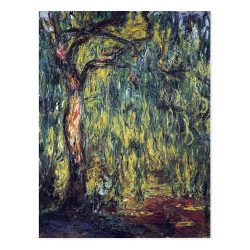 Weeping Willow II by Monet, Vintage Impressionism Post Card