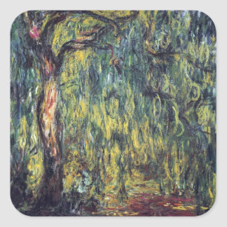Weeping Willow II by Monet, Vintage Impressionism Stickers