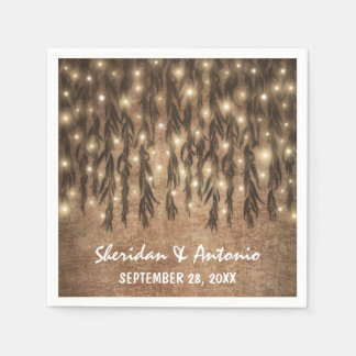 Weeping Willow Tree Branch Lights Vintage Wedding Napkin